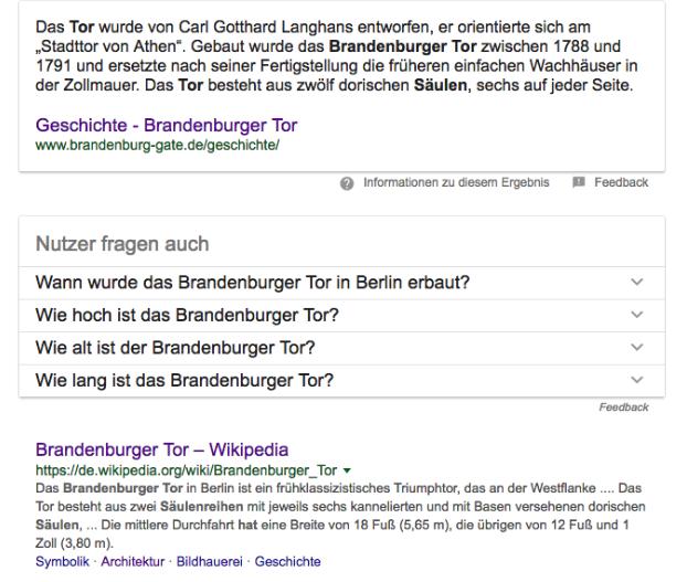 """Featured Snippet und Google Answer Box zu """"Wie viele Säulen hat das Brandenburger Tor?"""""""